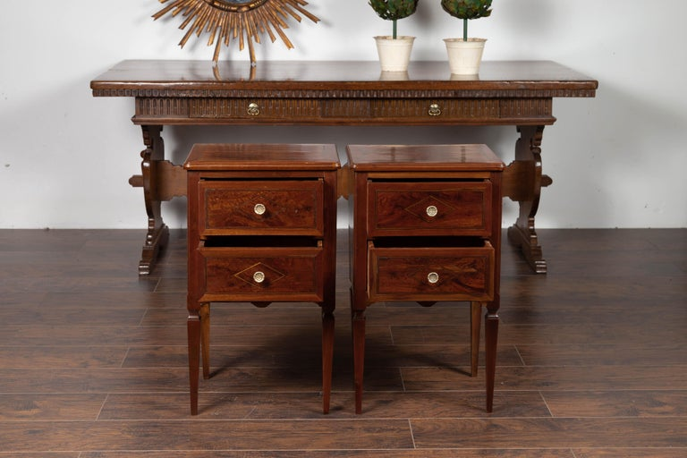 Pair of Italian Neoclassical Style 1840s Walnut Commodes with Banded Inlay For Sale 2
