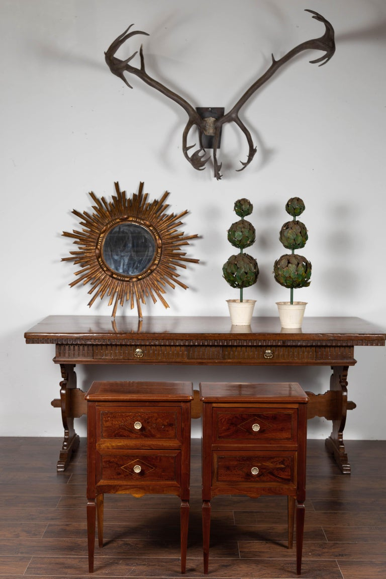 Pair of Italian Neoclassical Style 1840s Walnut Commodes with Banded Inlay For Sale 3