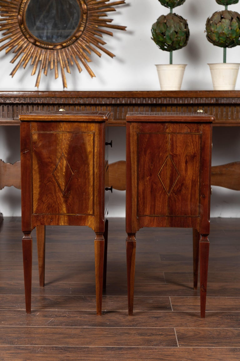 Pair of Italian Neoclassical Style 1840s Walnut Commodes with Banded Inlay For Sale 4