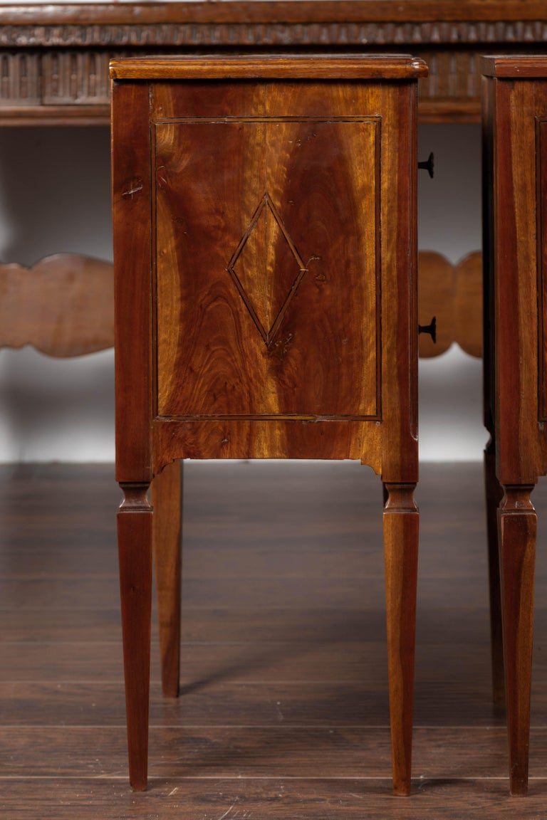 Pair of Italian Neoclassical Style 1840s Walnut Commodes with Banded Inlay For Sale 5