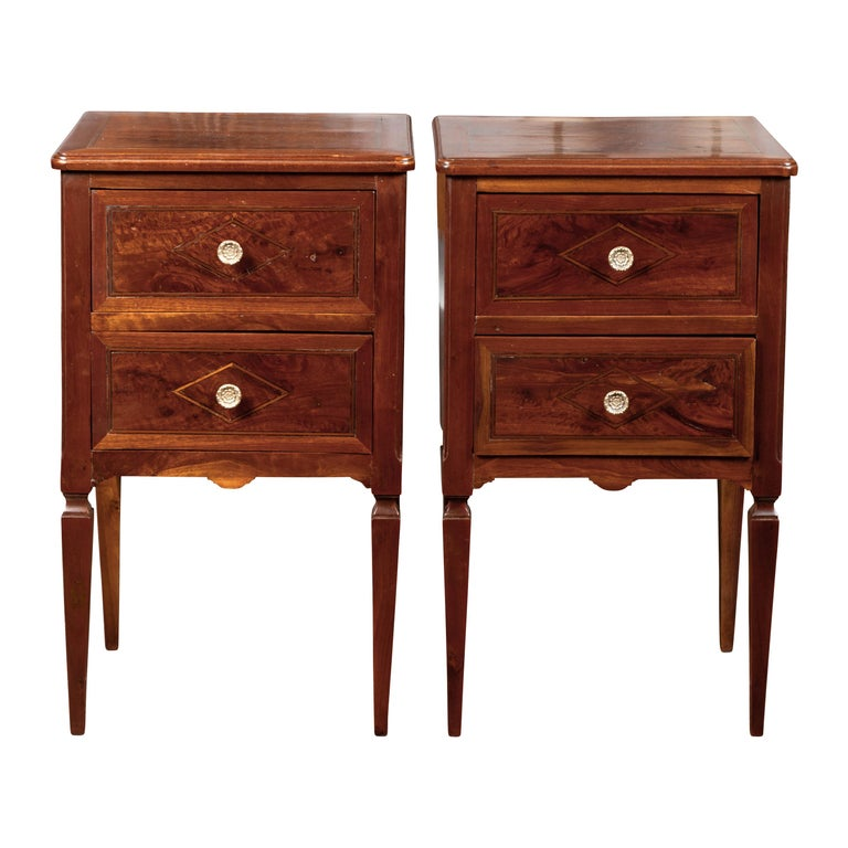 Pair of Italian Neoclassical Style 1840s Walnut Commodes with Banded Inlay For Sale