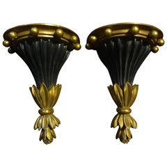 Pair of Italian Neoclassical Style Black and Gold Terracotta Wall Brackets