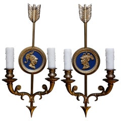 Pair of Italian Neoclassical Style Brass Arrow Sconces