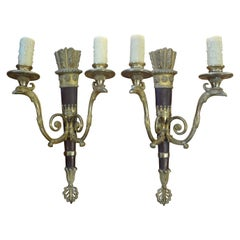 Pair of Italian Neoclassical Style Bronze Arrow Sconces