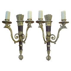 Pair of Italian Neoclassical Style Bronze Arrow Sconces