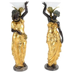 Pair of Italian Neoclassical Style Bronze Figures