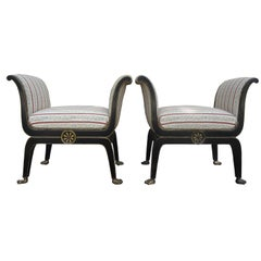 Pair of Italian Neoclassical Style Ebonized and Giltwood Benches