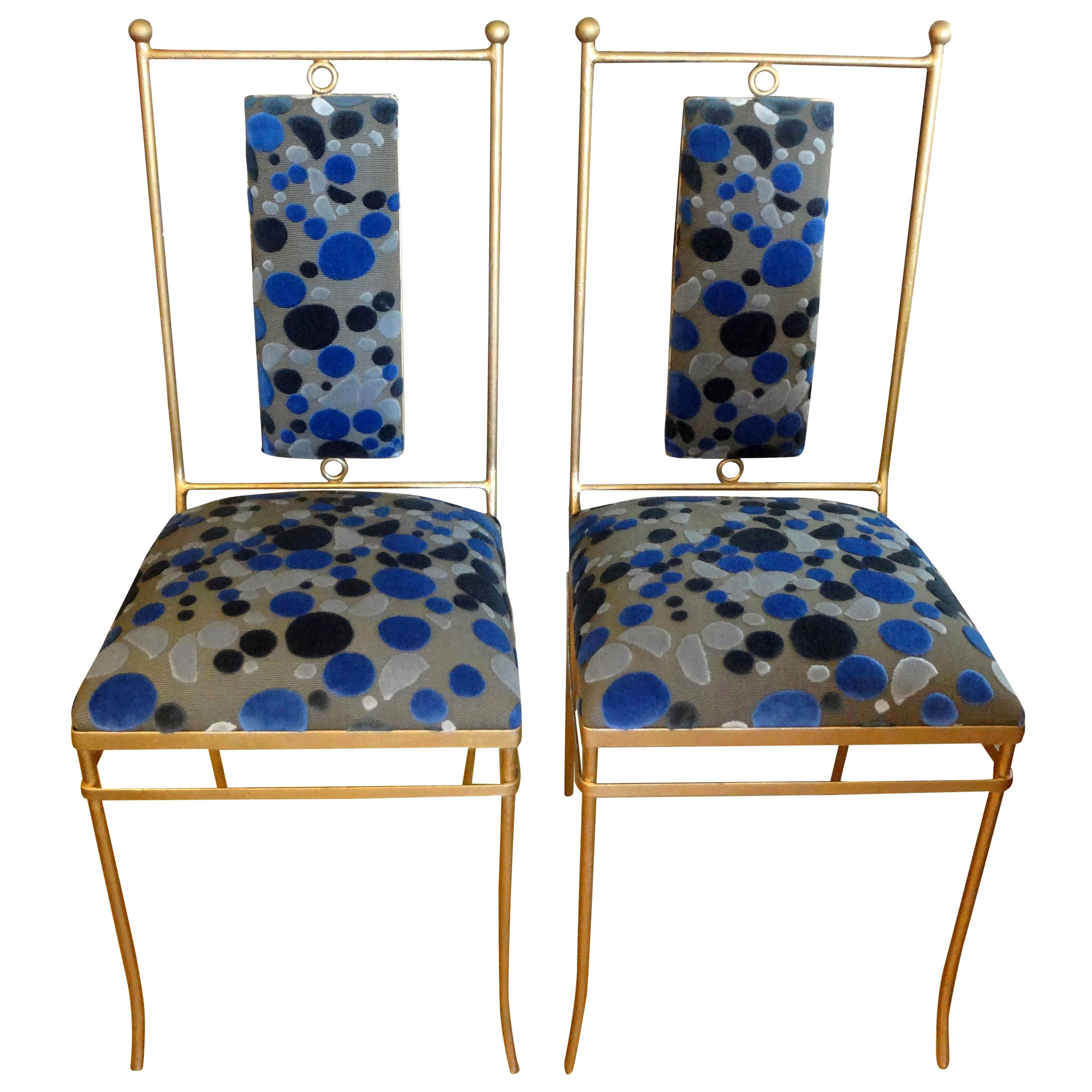 Pair of Italian Neoclassical Style Gilt Iron Chairs