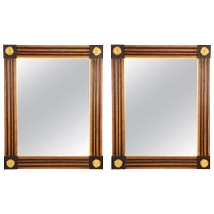 Pair of Italian Neoclassical Style Giltwood and Painted Mirrors