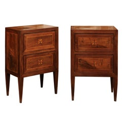 Pair of Italian Neoclassical Style Inlaid Walnut Commodini, circa 1890