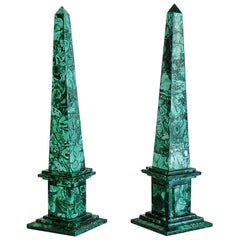 Pair of Italian Neoclassical Style Malachite Veneered Obelisks