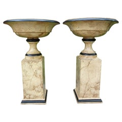 Pair of Italian Neoclassical Style Marbleized Wood Tazza Urns