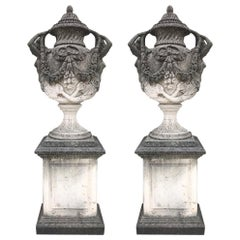 Pair of Italian Neoclassical Style Monumental Stone Garden Vases