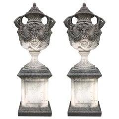 Pair of Italian Neoclassical Style Monumental Stone Garden Vases