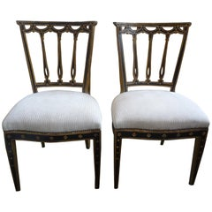 Pair of Italian Neoclassical Style Painted and Giltwood Chairs