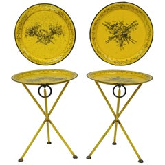 Pair of Italian Neoclassical Tole Metal Folding Side Tables Yellow Harvest