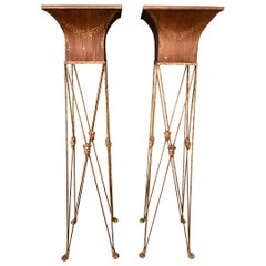 Pair of Italian Neoclassical Tole Plant Stands