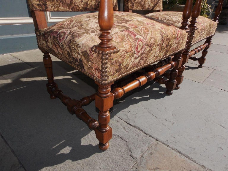 Pair of Italian Neoclassical Walnut Acanthus Upholstered Armchairs, Circa 1850 For Sale 4
