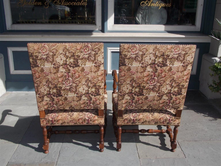 Pair of Italian Neoclassical Walnut Acanthus Upholstered Armchairs, Circa 1850 For Sale 6