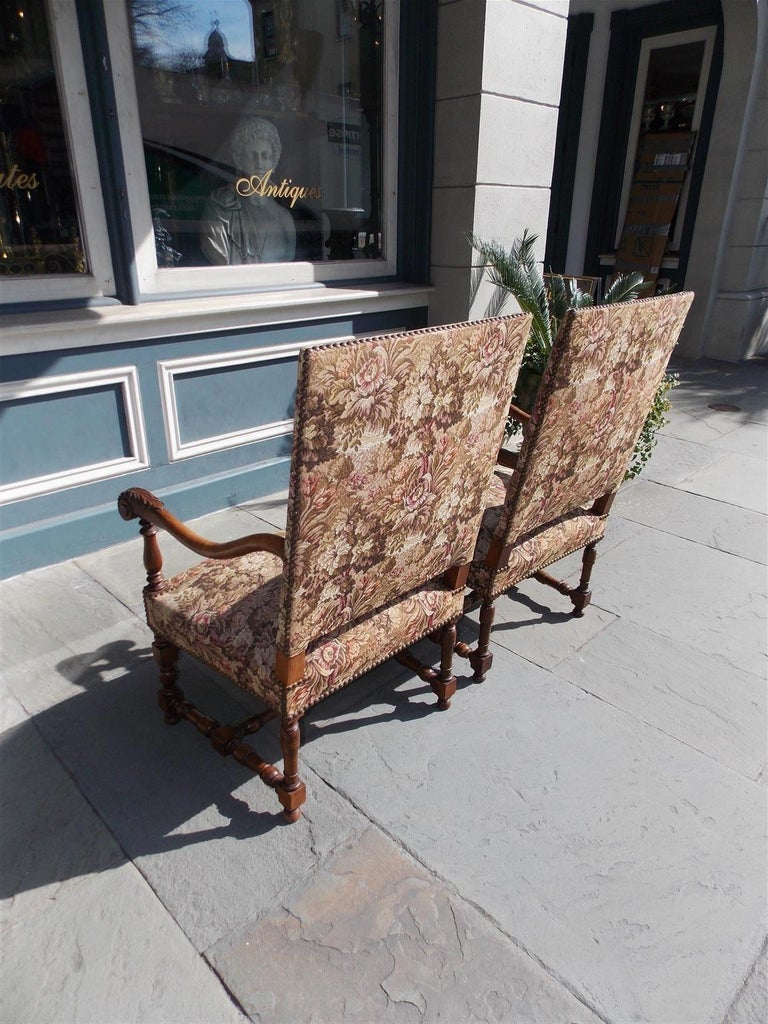 Pair of Italian Neoclassical Walnut Acanthus Upholstered Armchairs, Circa 1850 For Sale 7