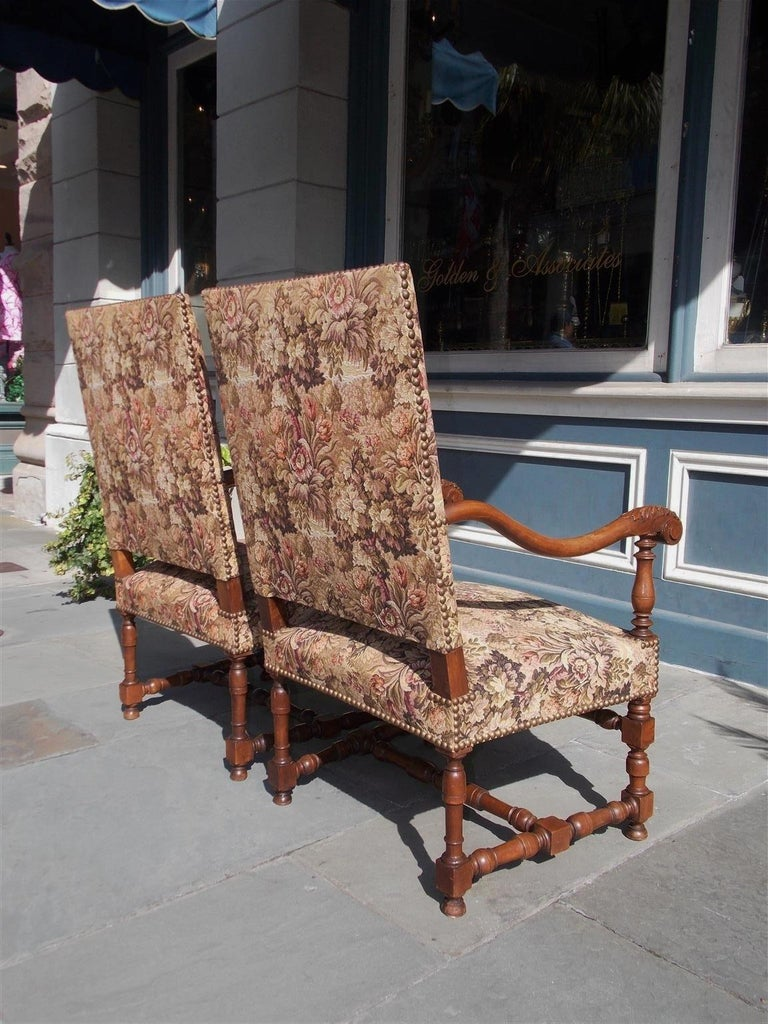 Pair of Italian Neoclassical Walnut Acanthus Upholstered Armchairs, Circa 1850 For Sale 8