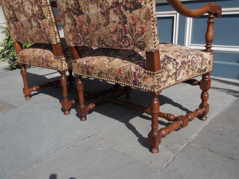 Pair of Italian Neoclassical Walnut Acanthus Upholstered Armchairs, Circa 1850 For Sale 9