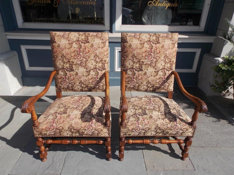 Cast Pair of Italian Neoclassical Walnut Acanthus Upholstered Armchairs, Circa 1850 For Sale