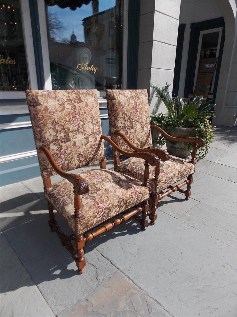 Pair of Italian Neoclassical Walnut Acanthus Upholstered Armchairs, Circa 1850 In Excellent Condition For Sale In Charleston, SC