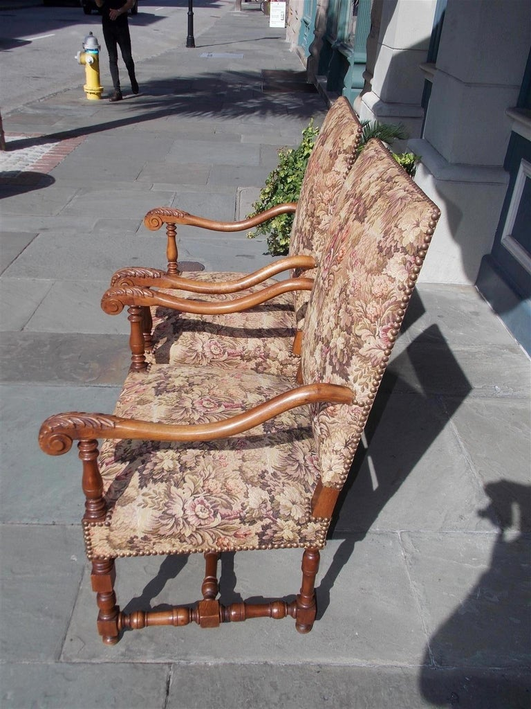 Brass Pair of Italian Neoclassical Walnut Acanthus Upholstered Armchairs, Circa 1850 For Sale