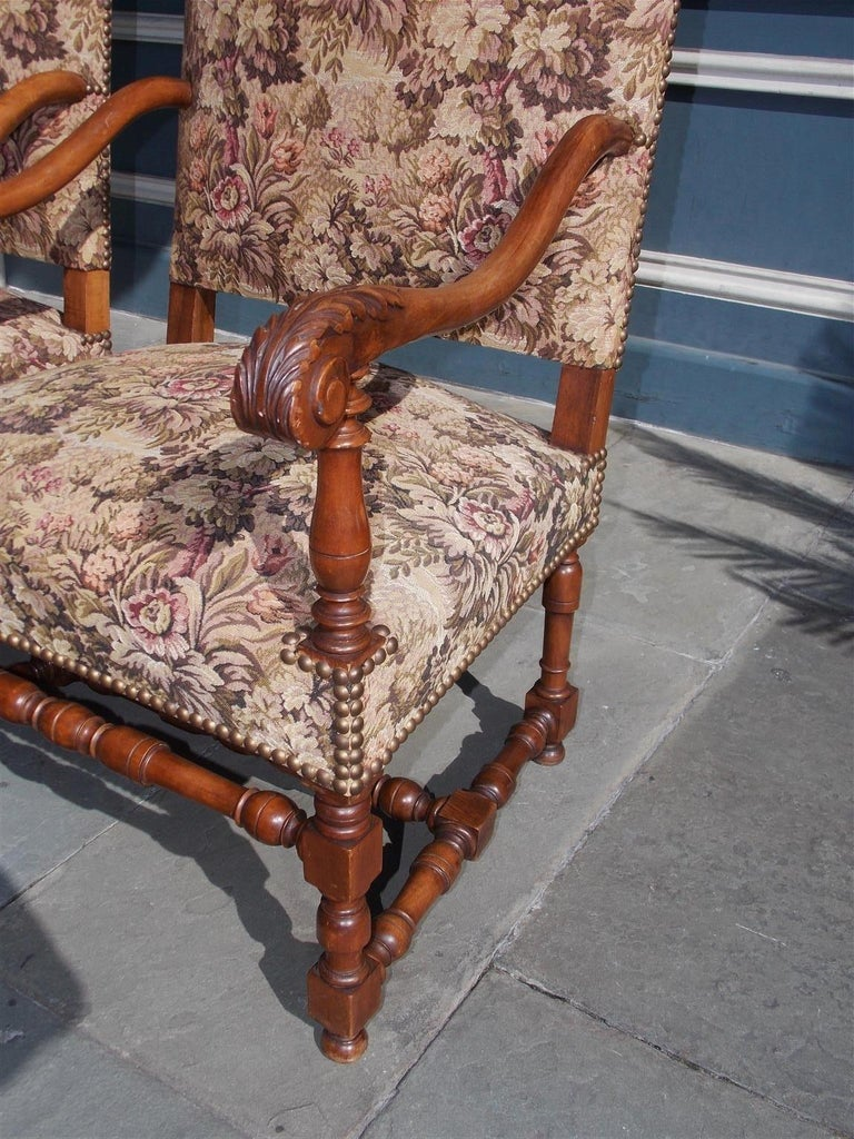 Pair of Italian Neoclassical Walnut Acanthus Upholstered Armchairs, Circa 1850 For Sale 1