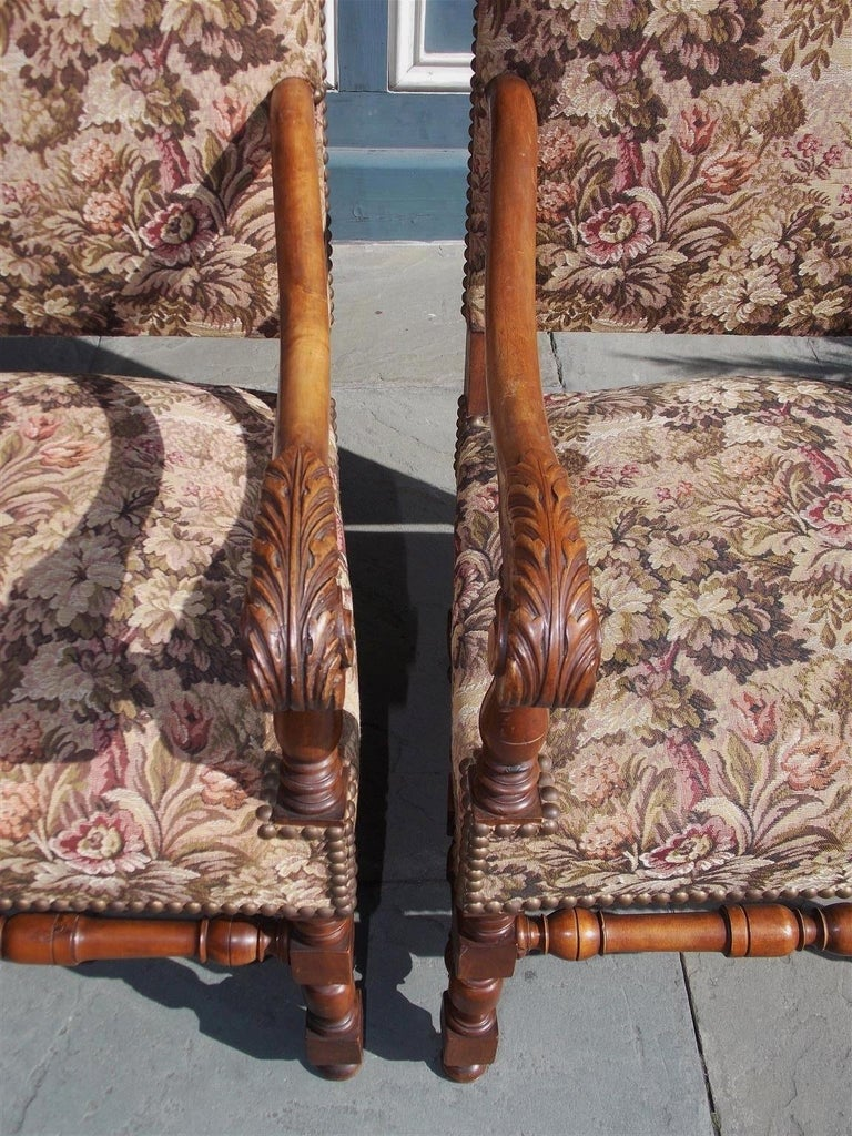 Pair of Italian Neoclassical Walnut Acanthus Upholstered Armchairs, Circa 1850 For Sale 2