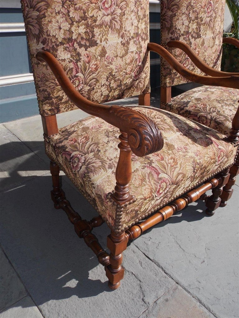 Pair of Italian Neoclassical Walnut Acanthus Upholstered Armchairs, Circa 1850 For Sale 3