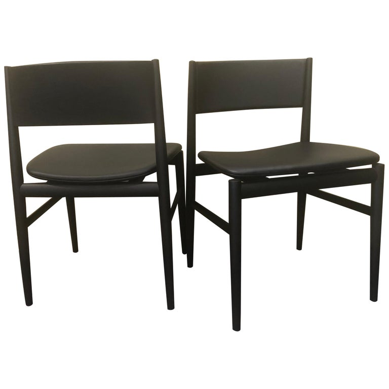 """Pair of Italian """"Neve"""" Armchairs in Black Ash by Piero Lissoni for Porro For Sale"""
