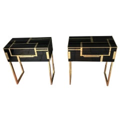 Pair of Italian Nightstands in Tinted Glass and Brass with One Drawer