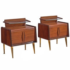 Pair of Italian Nightstands with Brass Legs