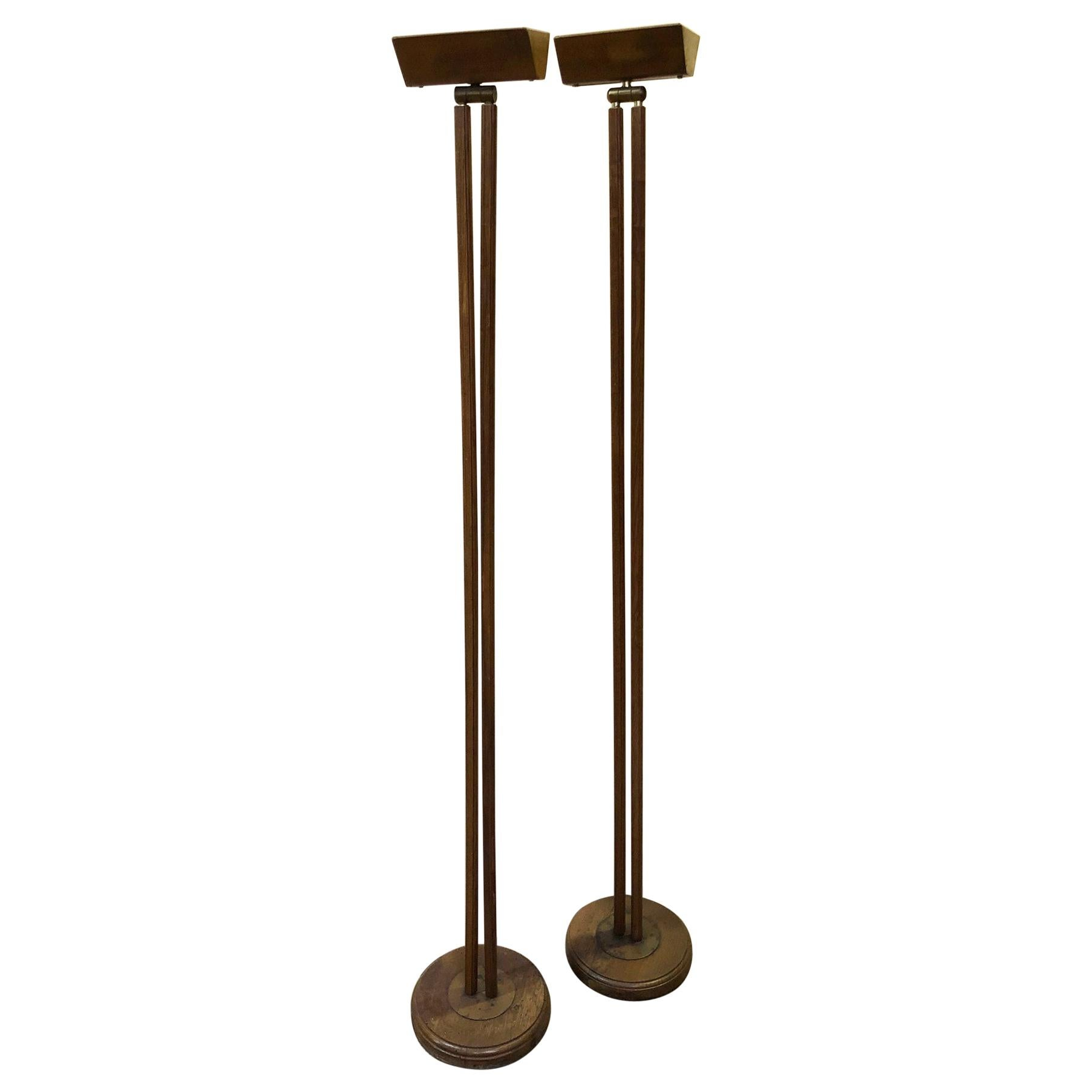 Pair of Italian Oak and Brass Floor Lamps from 1970s