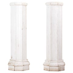 Pair of Italian Oak Pedestals from the Beginning of the 20th Century