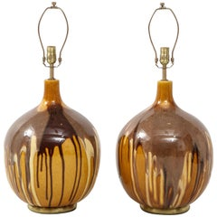 Pair of Italian Ochre Drip Glaze Lamps