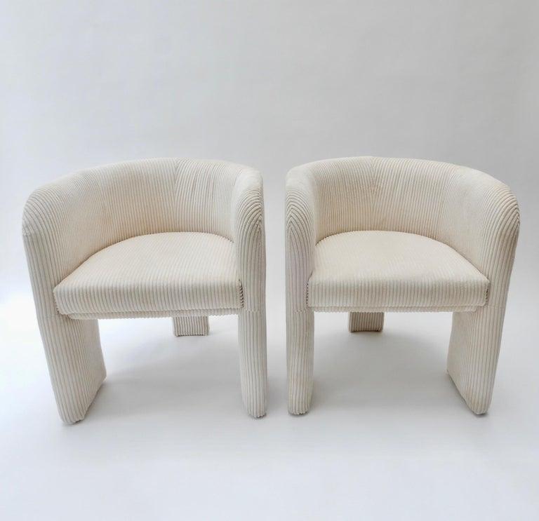 Pair of Italian off-white velvet corduroy armchairs, 1970s.