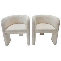 Pair of Italian Off-White Velvet Corduroy Armchairs, 1970s
