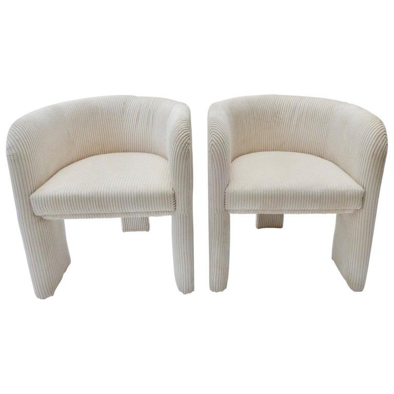 Pair of Italian Off-White Velvet Corduroy Armchairs, 1970s For Sale