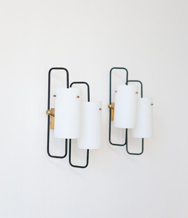 Pair of Italian Opaline Glass and Brass Wall Lamps, 1950s 3