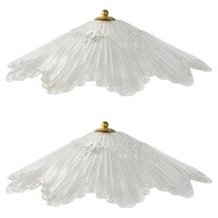 Pair of Italian Opaline Murano Glass Art Deco Lamps