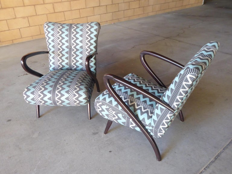 Mid-Century Modern Pair of Italian Open-Armchairs Attributed to Paolo Buffa For Sale