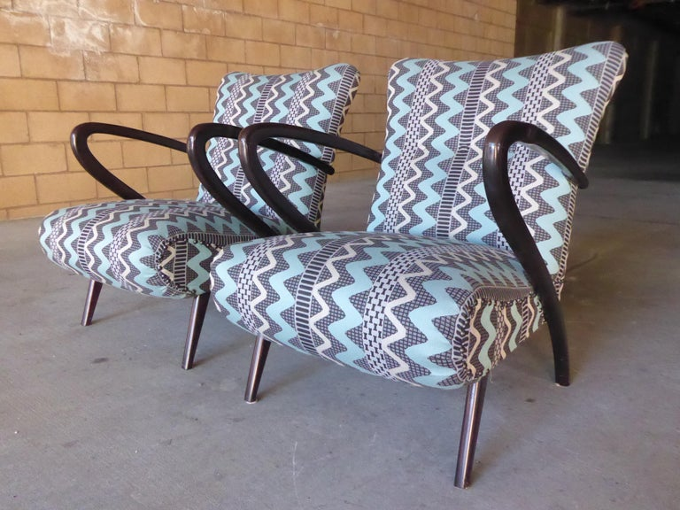 Pair of Italian Open-Armchairs Attributed to Paolo Buffa For Sale 1