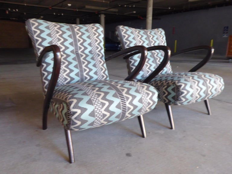 Pair of Italian Open-Armchairs Attributed to Paolo Buffa For Sale 2