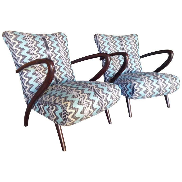 Pair of Italian Open-Armchairs Attributed to Paolo Buffa For Sale