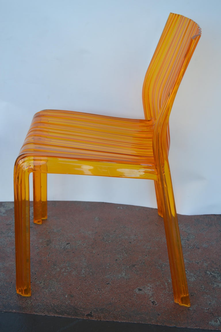 Pair of Italian Orange Chairs by Kartell In Good Condition For Sale In Los Angeles, CA