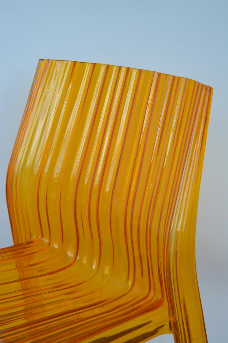 Pair of Italian Orange Chairs by Kartell For Sale 1