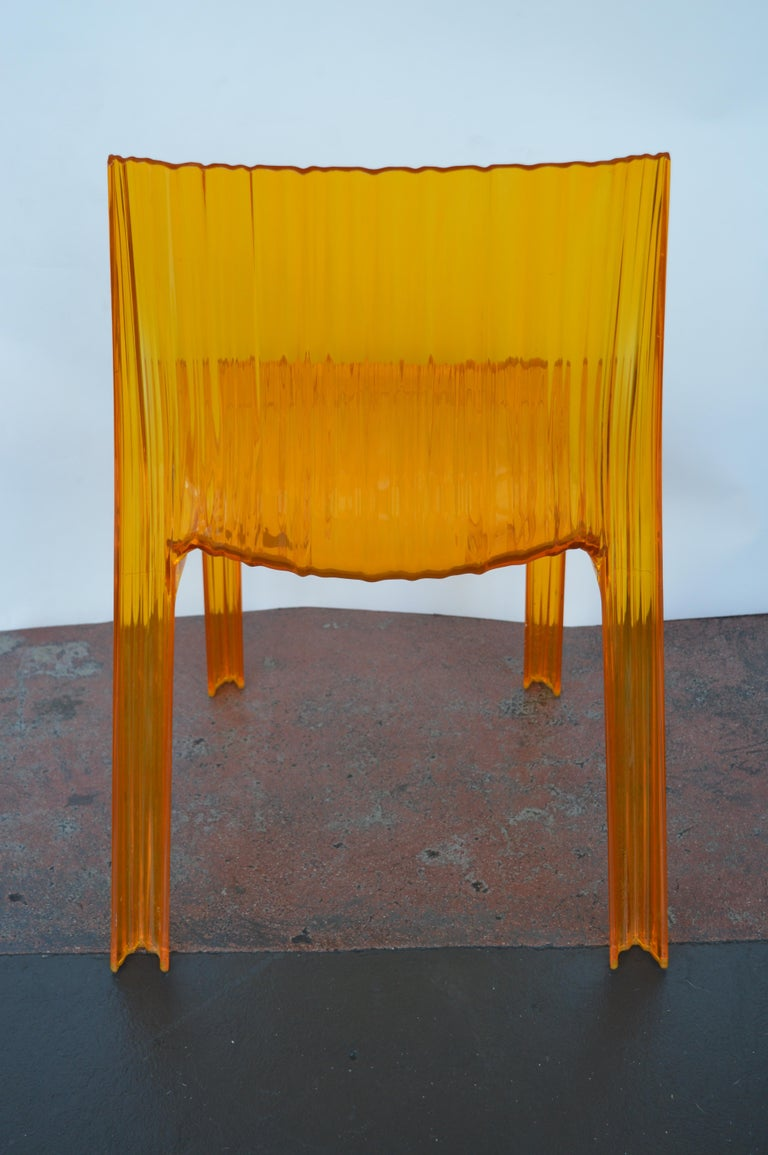 Pair of Italian Orange Chairs by Kartell For Sale 2